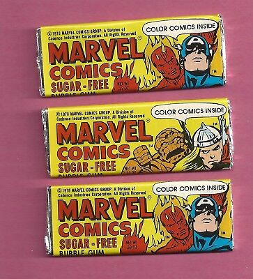 1978 Marvel SUGAR-FREE Gum ... 3 pieces with COMICS inside every Wrapper
