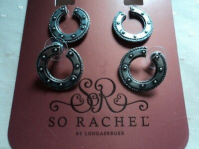 Longaberger So Rachel silver tone new on card ! plus 2nd pair !