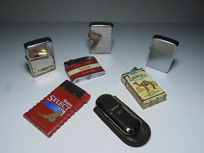 Lot of 7 vintage lighters; vintage Zippo lighters; used lighters