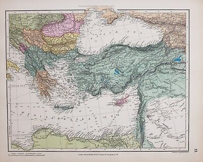 Stanford's 1889 Hand Coloured Map Eastern Mediterranean Sea Asia Minor Greece