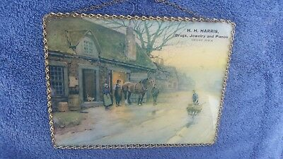 1904 H H Harris Jewelry Orient Iowa Glass Chain Frame Sign Picture Flue Cover