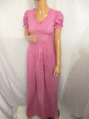 VINTAGE 1970s LAURA ASHLEY WALES UK:12 PINK FRILLY DITSY FLORAL MAXI DRESS