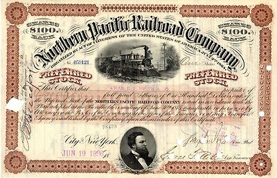 Northern Pacific Railroad Company 1896 Stock Certificate - brown