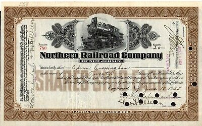 Northern Railroad Company of New Jersey 1925 Stock Certificate