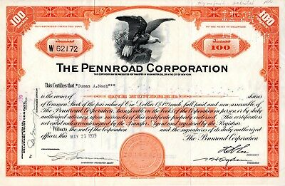 The Pennroad Corporation of NY 1939 Stock Certificate - Rare Certificate