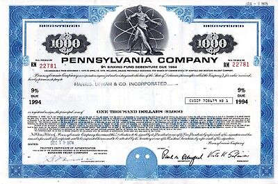 Five (5) Different Pennsylvania Company (one is PRRC) 1970's Bond Certificates