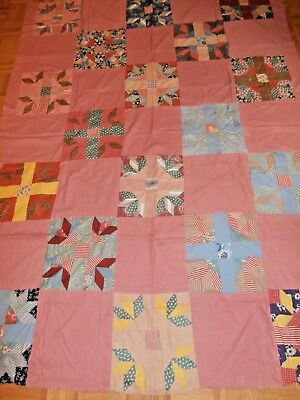 """Vintage handmade Bear's Paw Quilt Top 66"""" x 87"""" Very nice condition"""