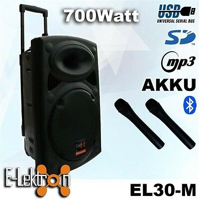 12 inch 700W Mobile PA Sound System Battery BT/MP3/USB/SD Mic Portable Speaker
