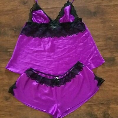 Victoria's Secret Women Lingerie Camisole And Shorts Set Size Large Purple Black