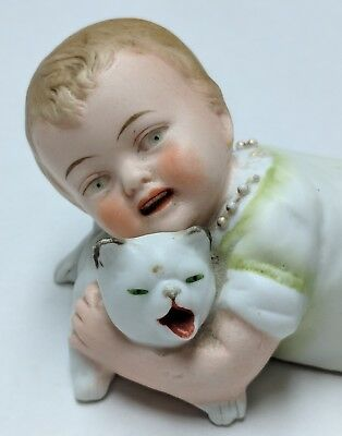 RARE Antique Bisque Porcelain Piano Baby Figurine with Cat 19th Century Germany?