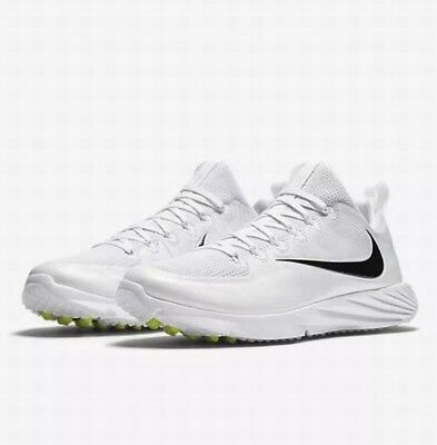 Nike Vapor Speed Turf Lacrosse Shoes Men's Size 12 White Black 856542-109