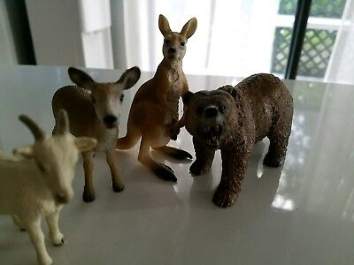 Schleich Lot 0f 4 - kanagroo, goat, bear and deer