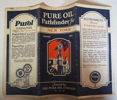 Rare 1931 Pure Oil Gas Station Advertising Route Map New York