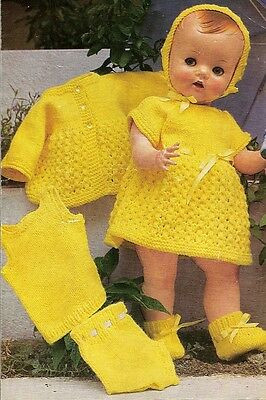 Vintage Baby Dolls Clothes Knitting Pattern Copy 40 - 50 cm dolls 4 ply