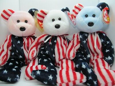 Spangle TY Beanie Babies Set of 3 Bears ( RED , WHITE, and BLUE Face )