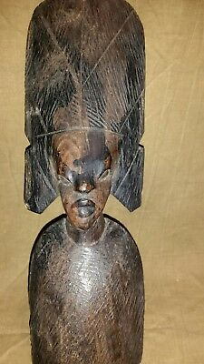 Vintage Antique African hand carved wood Tribal Art Sculpture Statue head