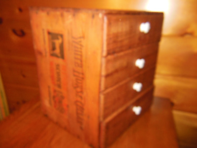 Vintage Wooden Whiskey Box with Drawers