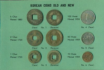 Coins Of Korea Old And New Chon / Chun Hwan 1720 1883 1959 Set