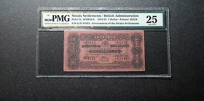 1921 Straits Settlements Government 1 Dollar Banknote PMG 25