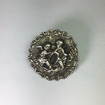 "Antique Victorian 1903 Synyer & Beddoes Sterling Silver Cherub Button Sz 1"" M51"