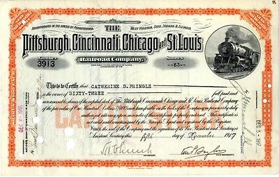 2 Different Pittsburgh Cincinnati Chicago & St Louis 1917-18 Stock Certificates