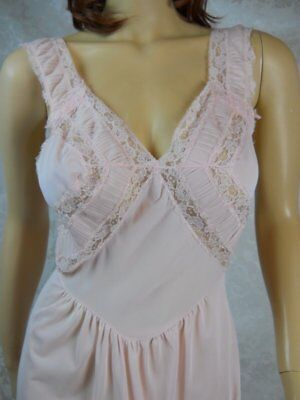 sz 40 vtg Michelene fitted nightgown Semi Sheer Pink Nylon 1950s Goddess #5740