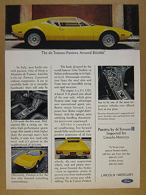 1972 de Tomaso Pantera yellow sports car 5x photo vintage print Ad