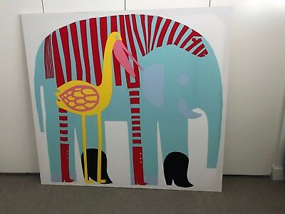 Marimekko - Art - Elephant - Stretched cotton fabric - Size Large