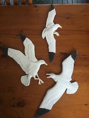 Vintage Set Of 3 Large Metal Painted Seagulls Stamped Whitehall 1973 Very Unique