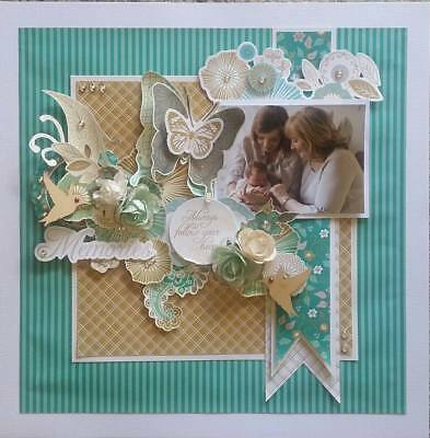 Handmade Premade Scrapbook Page Layout 12 X 12 - Memories
