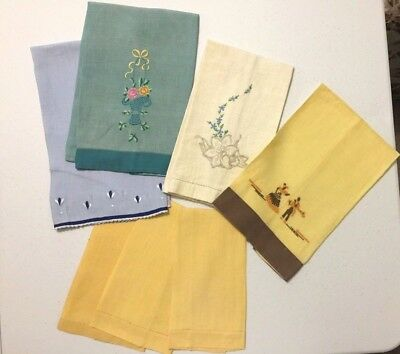 Lot of 7 ~ Vtg Hand Towels Guest Towels ~ Embroidered & Solids ~ Cutters? Crafts