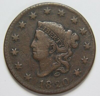 1820 Liberty Matron Coronet Head Large Cent Lg Date Penny Old US Coin P3R C54