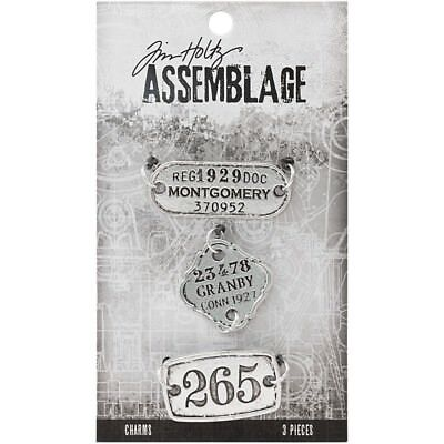 Tim Holtz Assemblage Charms 3/Pkg - Tags