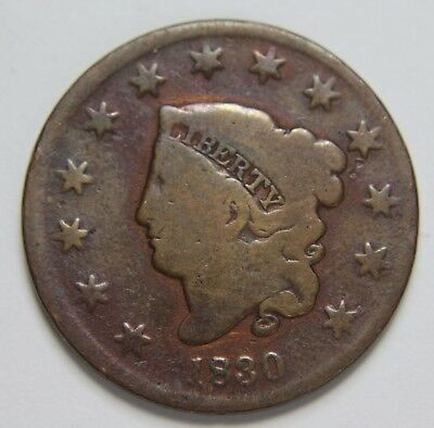 1830 Liberty Matron Coronet Head Large Cent Penny Old US Coin Free Ship P3R C58