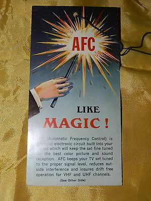 Circa 1950's AFC (Automatic Frequency Control) TV Advertising Card