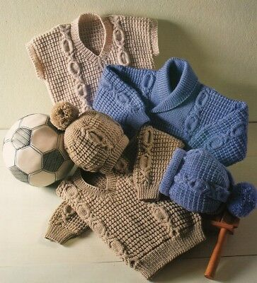 Baby Children SWEATERS Vest  and Hat knitting pattern 8 ply