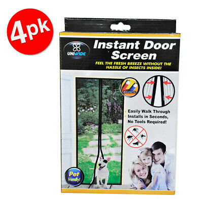 4PK Uniwide Instant Single Door Screen Magnetic Mosquito/Insect/Bug Free Curtain