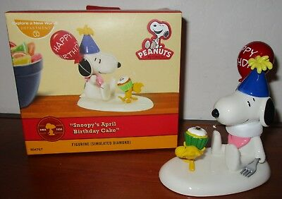 Department 56 Snoopy April Birthday Cake Figurine Cake Topper In Box 804767