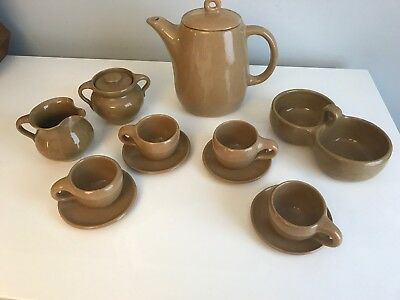 Rare Bybee Pottery 12 Pc Coffee Tea Set In Tan With Jam Jelly Condiment Dish