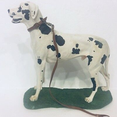 "Harlequin Great Dane Dog Cast Resin Figurine Hand Painted 12""x14"" Black & White"