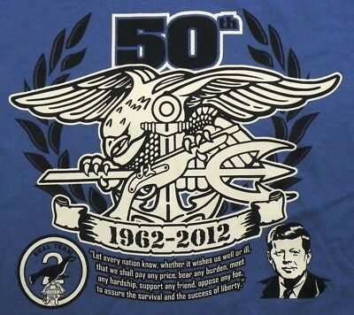 U.S. Navy SEAL Team 2 50th Anniversary 1963-2012 T Shirt Youth Large Blue
