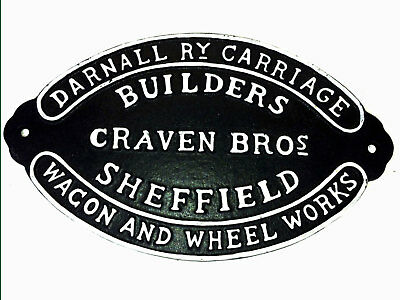 Railway Sign Cast Iron Repro Craven Brothers Wagon Carriage Builders Train 27cm