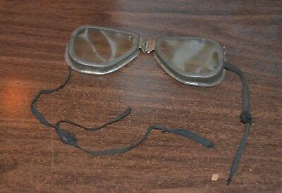 Antique Vintage Steampunk Motorcycle Aviator Goggles Glasses Original