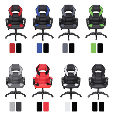 Mobili Rebecca Office Chair Gamer Armchair Black 8 Color Faux Leather Wheels