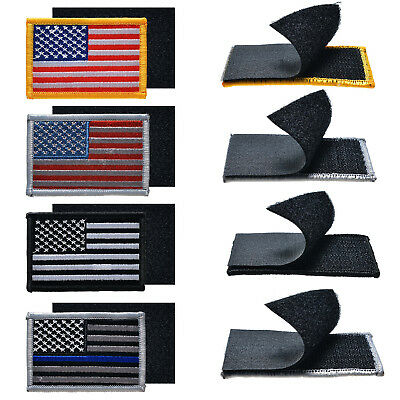 4PCS AMERICAN FLAG EMBROIDERED Hook PATCH BLACK WHITE Gold USA US 2*3 inch