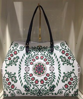801aaf4694df NWT Tory Burch Kerrington Large Square Tote Garden Party Floral Green Muti