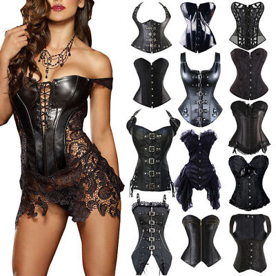 Black Bustier Underbust Overbust Corset Lace Up Women Steampunk Basque Lingerie