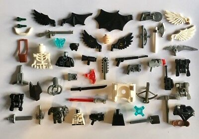 Exc Cond Genuine Lego Mini Figure Parts, Weapons, Small Specialty 60+ Pieces.