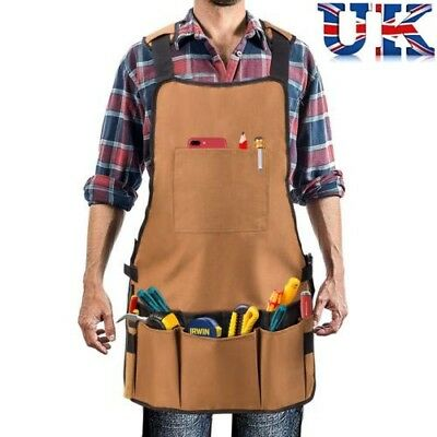 Heavy Duty Waxed Canvas Workshop Pottery Craft Carpenter Pouch Tool Belt Apron