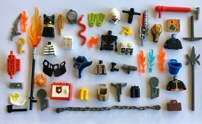 Exc Cond Genuine Lego Mini Figure Parts, Weapons, Small Specialty 50+ Pieces